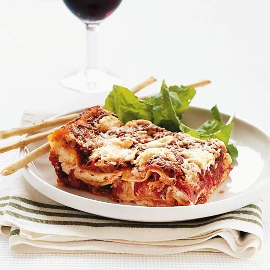 Spinach And Roasted Red Pepper Lasagna Recipe — Dishmaps