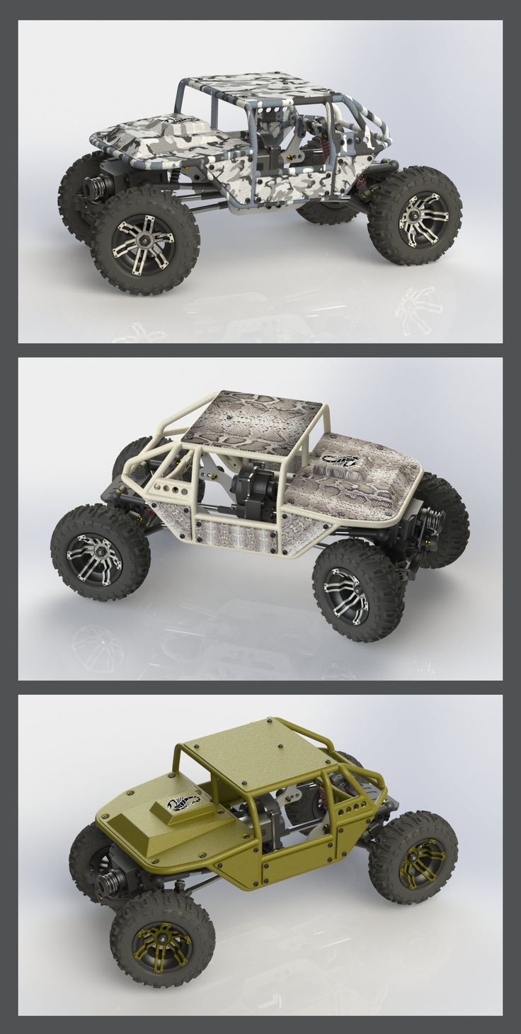 3D Print R/C Rock Crawlers drawn with SolidWorks CAD Engineering Design Software