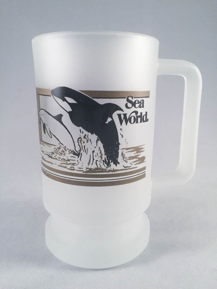Vintage Sea World Frosted Glass Orca Mug 1988 on Blamm.com #vintage #SeaWorld #orca #mug #stein