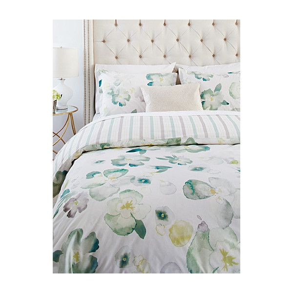 Samantha Pynn x Simons Green pansy duvet cover set ($110) ❤ liked on Polyvore featuring home, bed & bath, bedding, duvet covers, queen duvet cover sets, green twin bedding, twin duvet set, king bedding and king size duvet sets