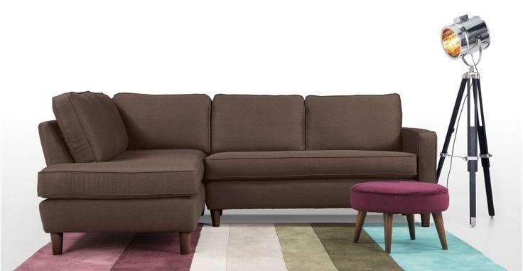 Lugano, un canapé d'angle gauche, brun moka | made.com