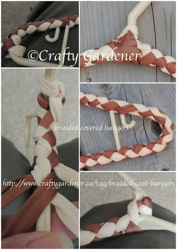 making braided covered coat hangers using plastic hangers at craftygardener.ca