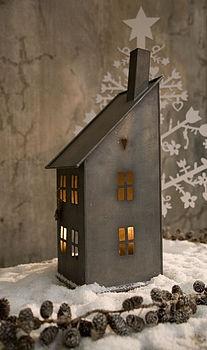 zinc house candle holder