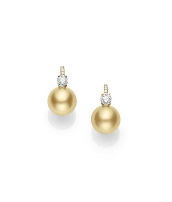 15mm Golden South Sea Cultured Pearls with 1.59ct of Diamonds and 18k Yellow Gold