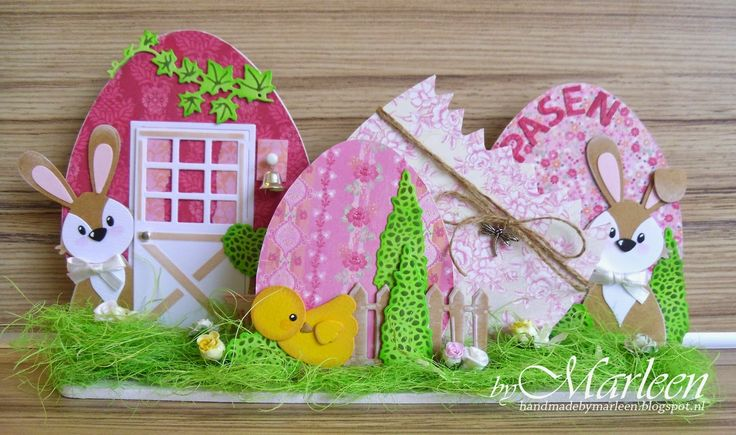 Easter project made by DT member Marleen with the COL1354 Bunny, COL1351chicken, Barn Door LR0313, Topiary set CR1303, Paper pad Eline's Fresh Flowers PB7045