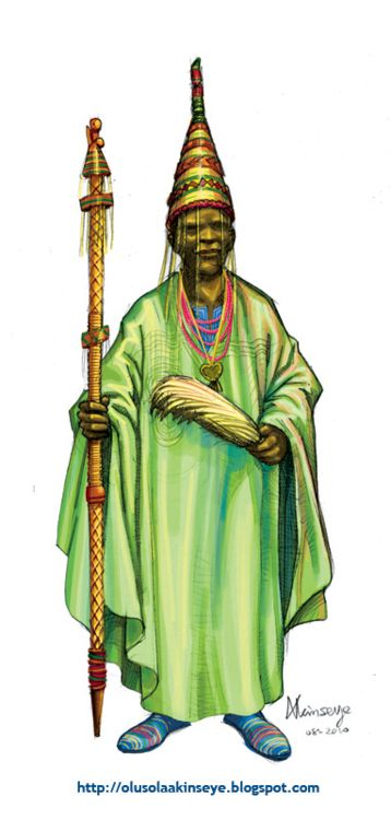 """Yoruba Culture Character Designs For Chess Pieces by Olusola Akinseye.  Oba                  The King is the supreme ruler and often regarded as a demi-god.              The royal greeting """"kabiyesi"""" means no one dears question his authority."""