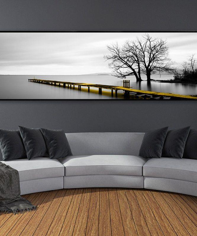 Modern Landscape Bridge Scene Black and White Canvas Paintings Nordic Poster