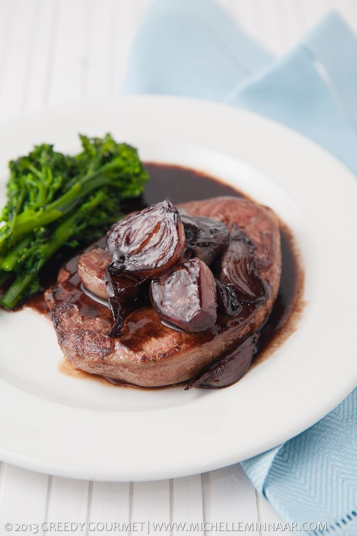 Lamb Leg Steaks with Shallots and Sticky Red Wine Sauce | Greedy Gourmet