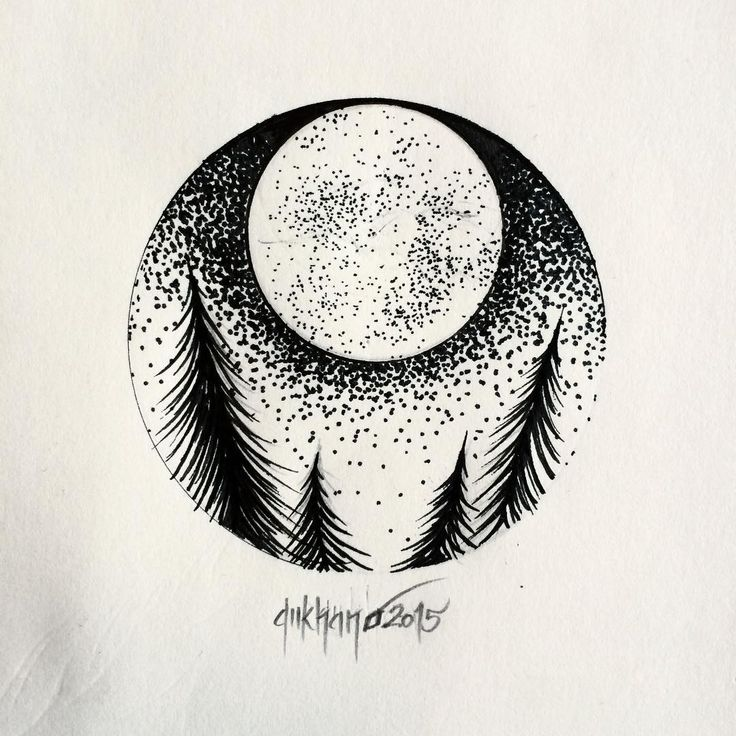 pretty moon drawing - 640×640