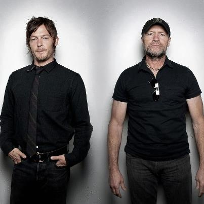 norman reedus & michael rooker. Wow! Handsome guys without all that dirt and walker blood on them.. :)
