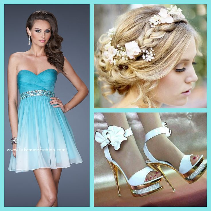 La Femme style 19514 aqua - cocktail dress - homecoming dress - wedding hair - updo - heels - white shoes - pretty