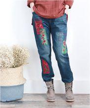 De las mujeres Apliques Bordados Florales Pantalones de Parches de Flores bordado Lazo de la cintura Elástica Pantalones de Mezclilla Pantalones de Mezclilla Blanqueada(China)
