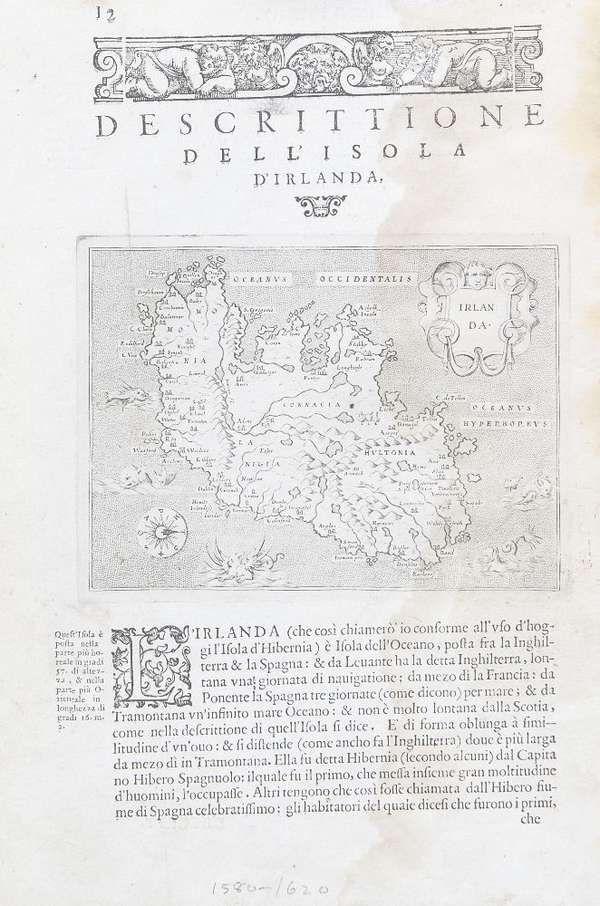 LOT:569 | Thomas Porcacchi da Castigione, fl.1570 Irlanda A map of Ireland set in text entitled Descittione dell isolu d'Irlanda Engraving, 285 x 190mm