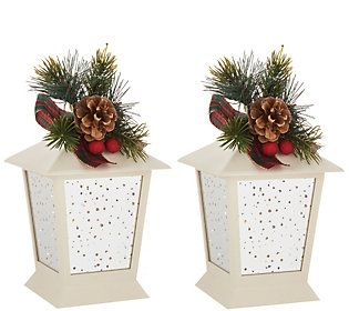 Set of (2) 7″ Indoor/Outdoor Lanterns with Embellishment by Valerie — QVC.com