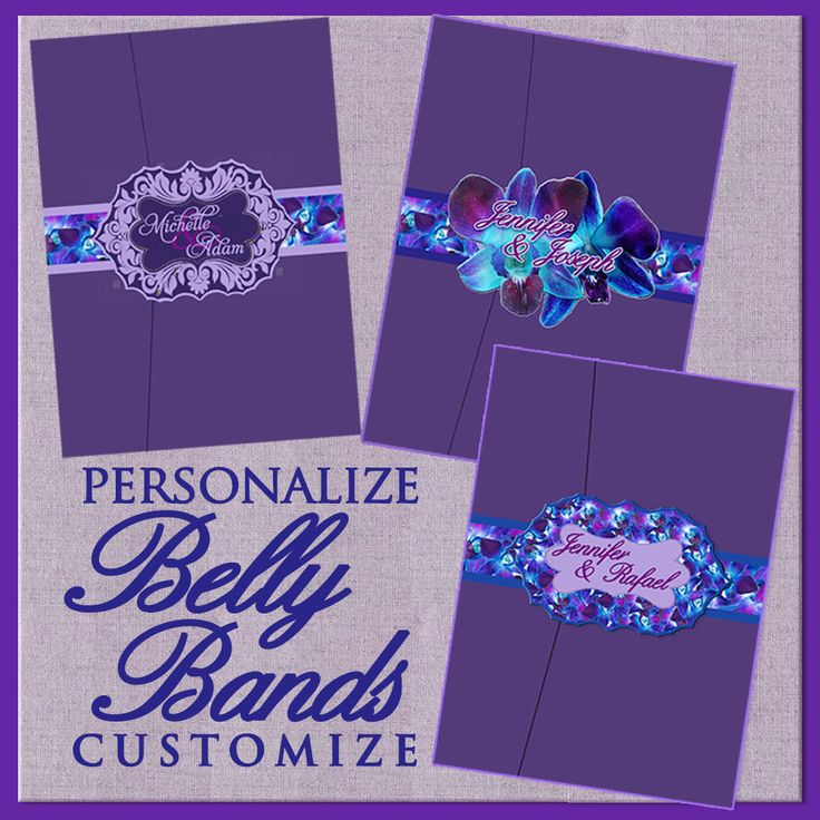 Orchid Belly Bands for Invitations, Floral Wedding Invitation Suites, Custom, Blue Purple Orchid Theme, Belly Bands, Invitation Suites by SaveTheDateMagnets4U on Etsy