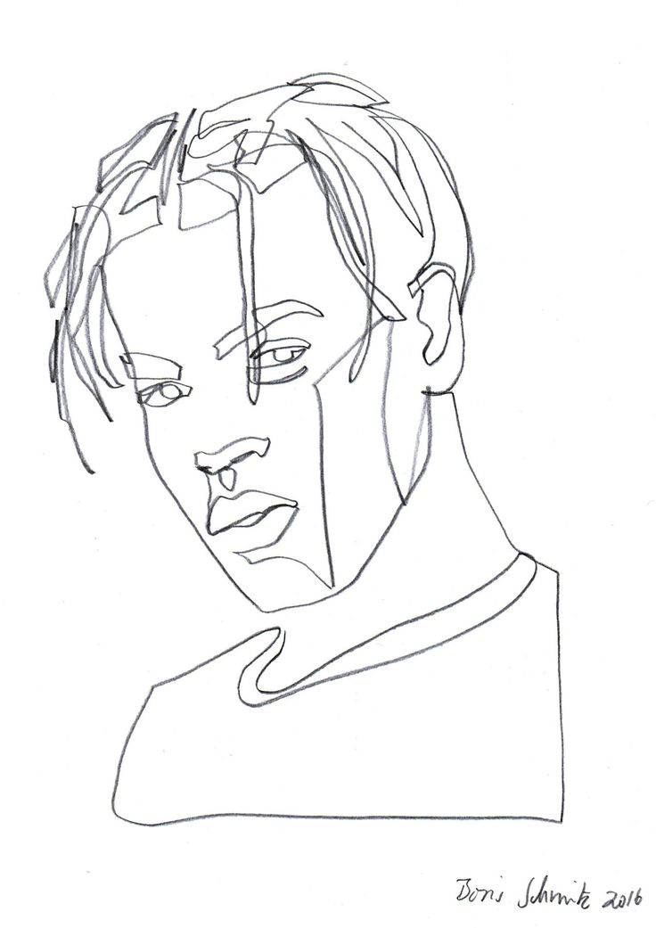 "Simple Continuous Line Art : ""gaze ″ continuous line drawing by boris schmitz"