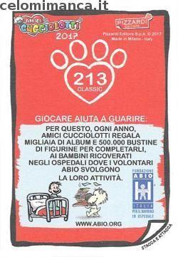 Amici Cucciolotti 2017: Retro Figurina n. 213 Raganella dagli occhi rossi
