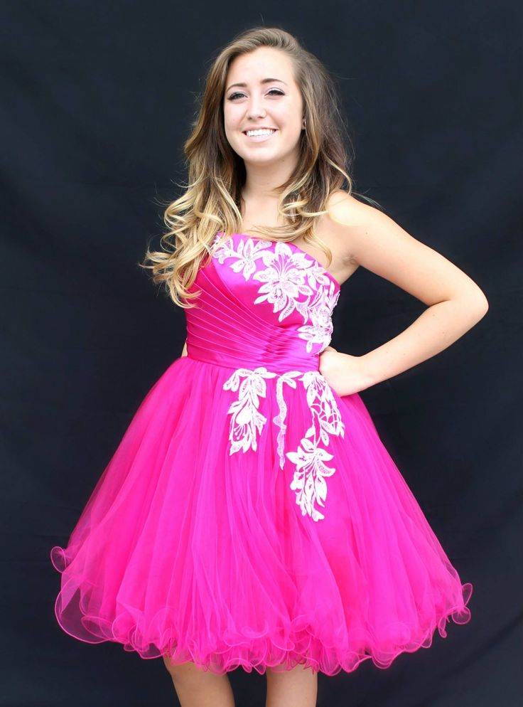 Knee length short homecoming dress! Available for rent at Bling It ...