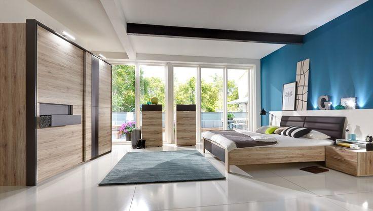 Schlafzimmer komplett Diva Eiche und Lava 10432. Buy now at https://www.moebel-wohnbar.de/schlafzimmer-komplett-diva-eiche-und-lava-10432.html