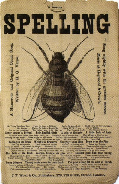 Verne (H.G.) [The] Spelling [rebus:] Bee.  A Humourous and Original Comic Song ...  Sung Nightly with the Greatest Success.  Music at Hopwood and Crew's. 1876.