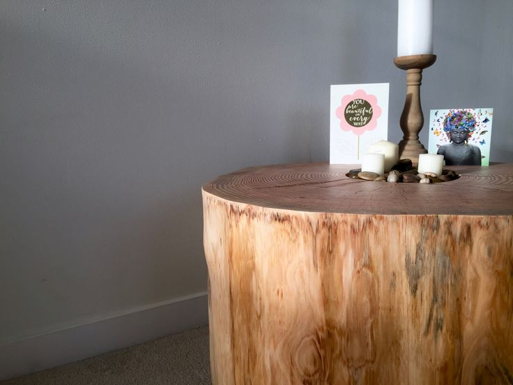 Beautiful spruce stump table, available for purchase from the team at Interior Groove.