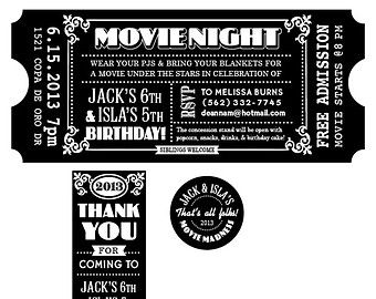 Old Hollywood, Art Deco, Gold Movie Ticket Invitation SAMPLE  Movie Ticket Invitations Printable Free