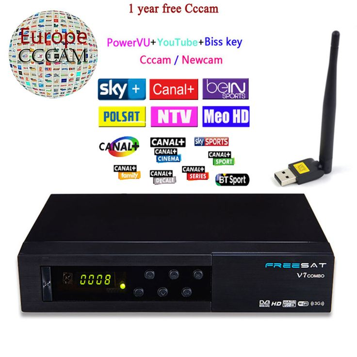 ==> [Free Shipping] Buy Best Freesat HD V7 Combo DVB S2  DVB T2 Satellite Receiver with PowerVu Biss Key Cccam Newcam Youtube USB Wifi Set Top Box Online with LOWEST Price   32791846205