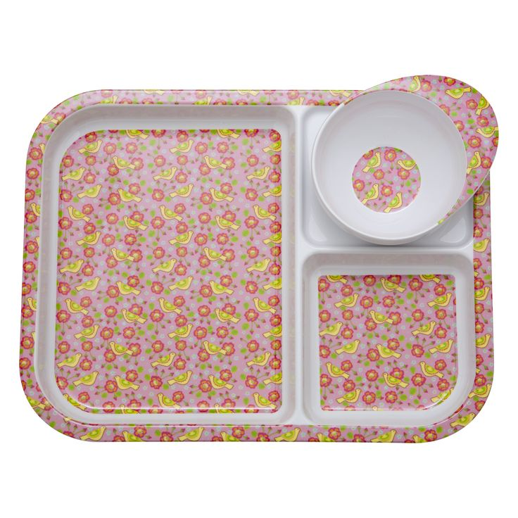 Kids Melamine 3 Room Plate and Bowl with Pink Bird Print  sc 1 st  Pinterest & 17 best Kids Tableware Lunchboxes \u0026 More images on Pinterest ...
