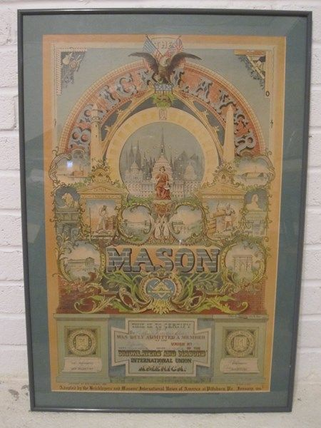Mixed Media & Prints  Subscribe to our feed. rss feed icon  Turn of the century framed behind glass Bricklayers' Mason lithograph certificate dated 1902. - $120