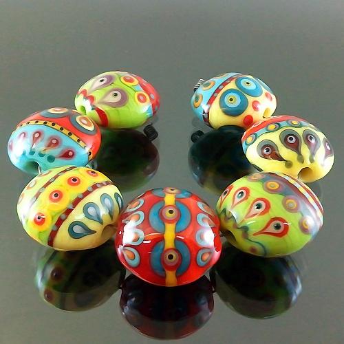 lampwork 7 glass beads colorful dot line sra