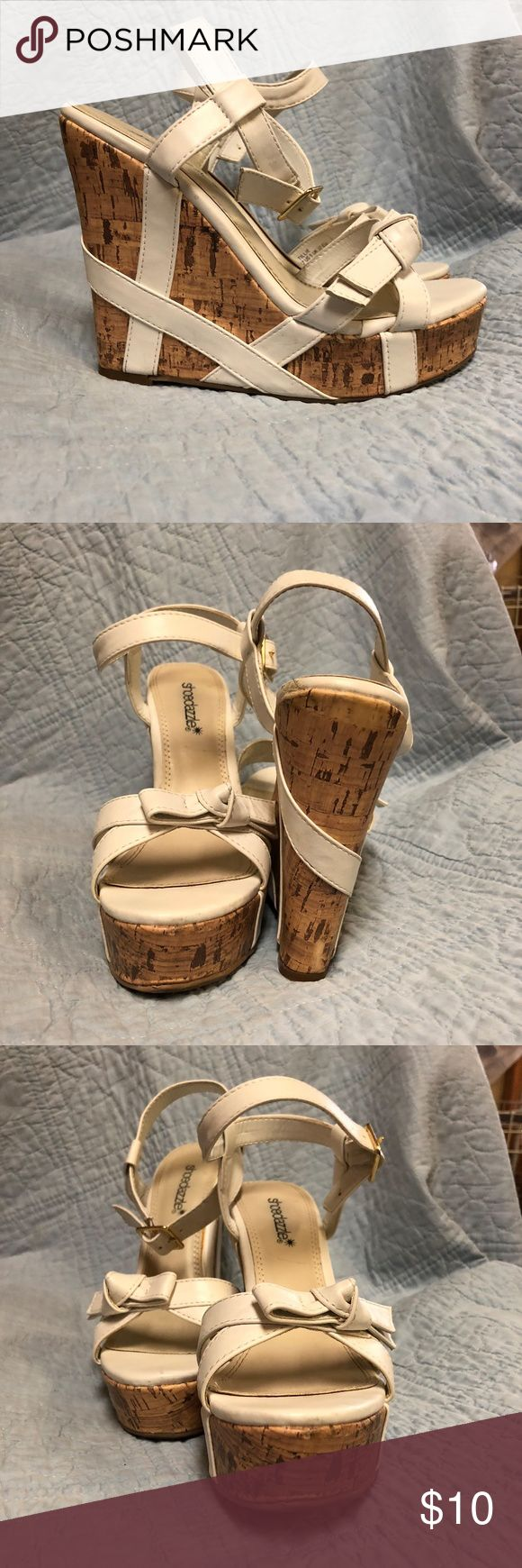 "Shoe Dazzle Tillie White size 7 White strappy wedge sandals. Buckle ankle strap, knot bow across top of foot. 5"" wedge 1 3/4"" foot bed. very comfortable. Shoe Dazzle Shoes Platforms"