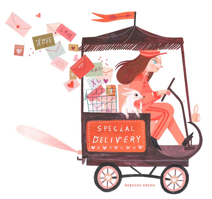 Valentine's Promo for Tugeau2 Illustration Agency.  Gouache, Colored Pencil, Collage, and Digital. 2016. Rebecca Green