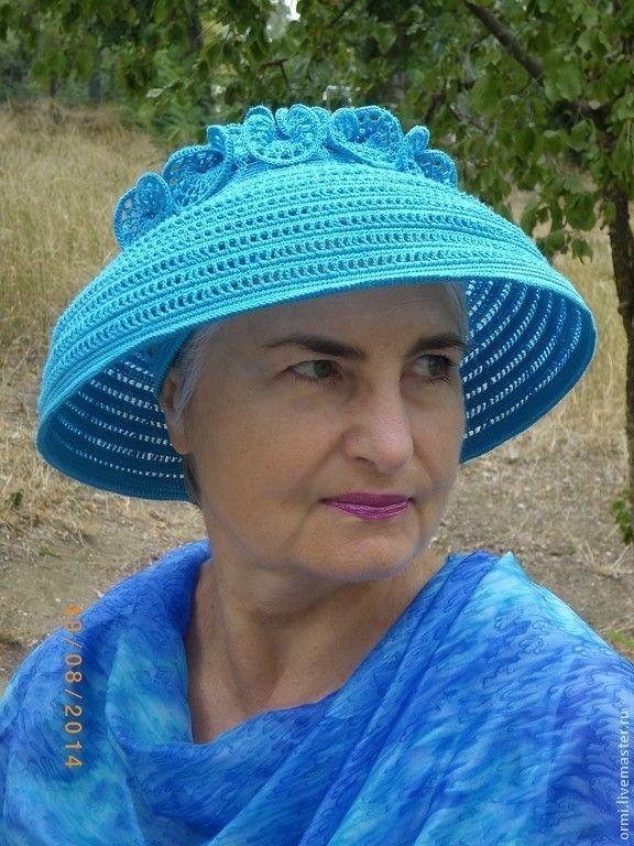 """Купить Шляпа """"Солнышко"""" бирюзовый вариант - бирюзовый, однотонный, авторская ручная работа, вязаная шляпа"""