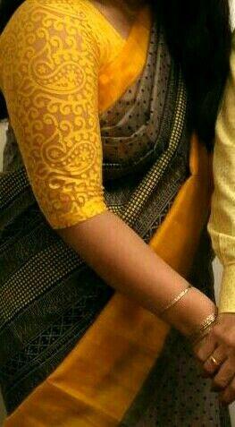 Grey/Yellow Art Silk Saree with a Lace Saree Blouse