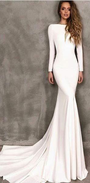 Long Sleeves White Mermaid Elegant Prom Dresses, Modest Fashion Evening Dress,PD1054 Long Sleeves White Mermaid Elegant Prom Dresses, Modest Fashion Evening Dress,PD1054 2