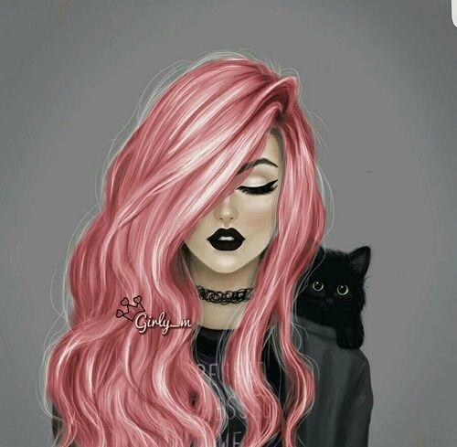 All art awesome beautiful black cat cool cute dark - Girly girl anime ...