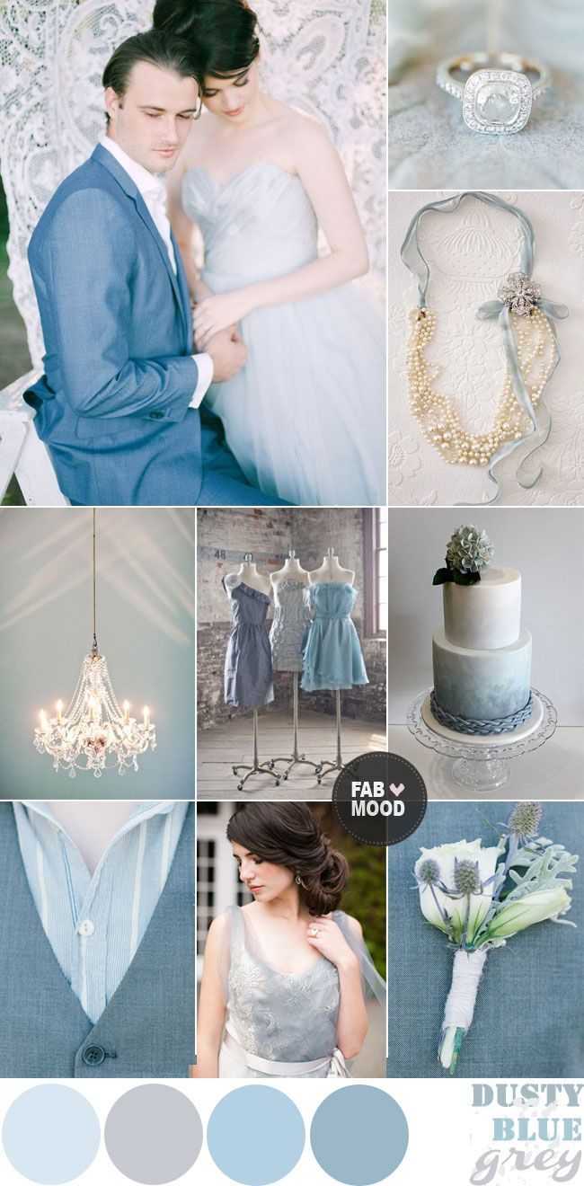 Dusty Blue Grey Winter Wedding Colour Palette