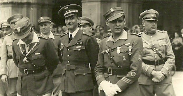 "Farewell to Franco's Portuguese ""Viriatos"" volunteers - 4th june 1939 - Plaza Mayor, Salamanca, Spain - Spanish Civil War"