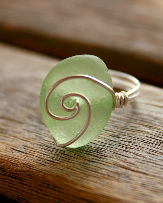 Sea Glass Jewelry Lime Wave Ring Sterling by OceanCharmsSeaGlass, $22.00
