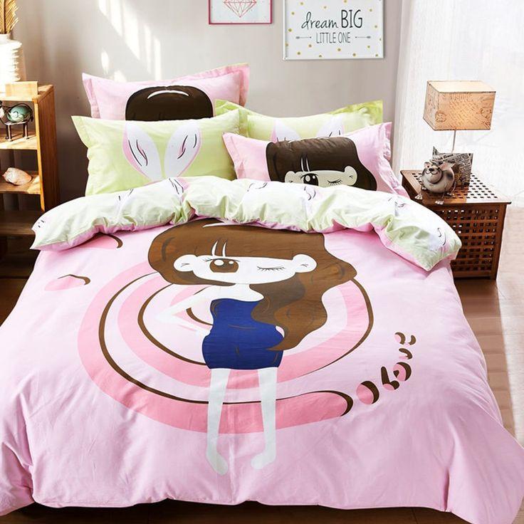 Cartoon Design Beautiful Girl Pattern Duvet Cover Set Cute Bedding Set Love Sheet Set Kids Adult 100% Cotton Bedding Sets Teen Bedding Gift Idea (Full, #1) //Price: $165.83 & FREE Shipping //     #bedding