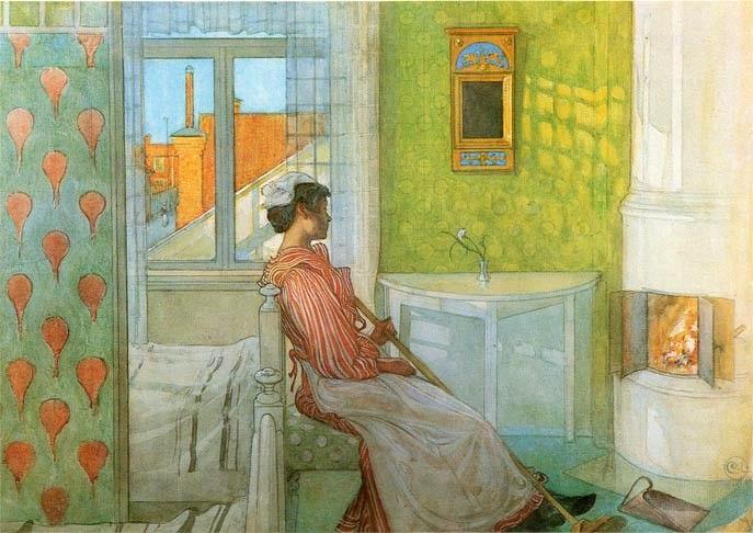 Carl Larsson >> `Martina` dans l'avant du feu  |  (aquarelle, reproduction, copie, tableau, oeuvre, peinture).