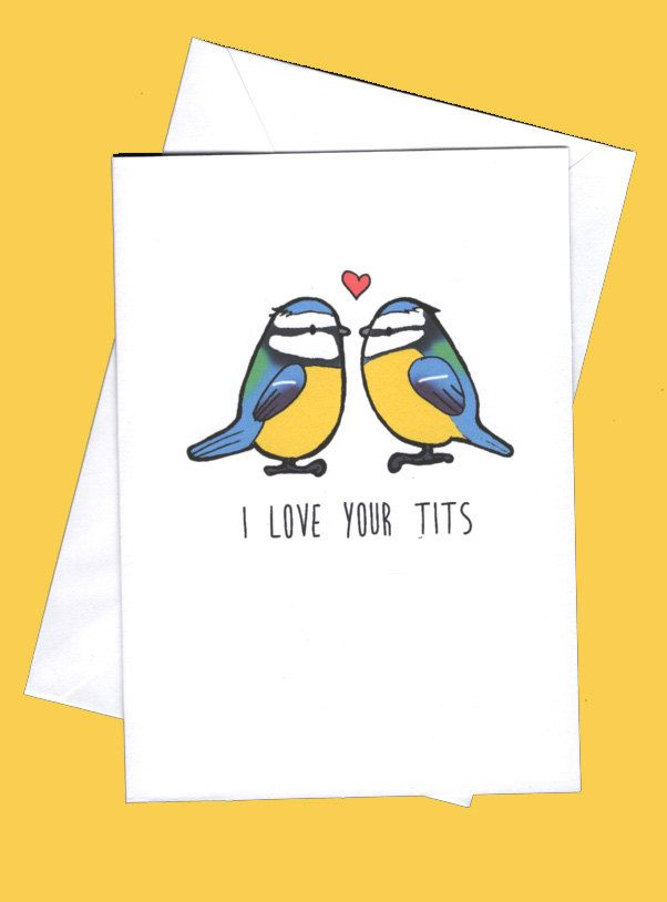 I love your tits, funny valentines,rude valentines cards,valentine card,valentines cards,blue tits,bird humour by karenflanart on Etsy