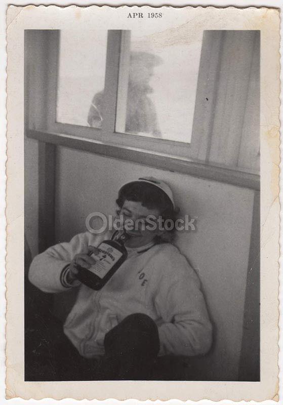 Drunk College Girl Goofy Drinking Fun Vintage Americana Snapshot Photo