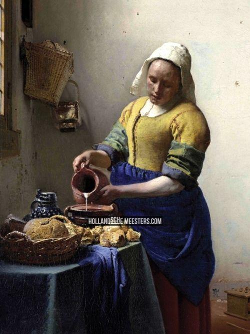 Art wallpaper / behang | Het Melkmeisje | Johannes Vermeer | Canvas doeken en Art-wall behang van Nederlands grootste kunstschilders zoals Rembrandt, Vermeer, Mauve en van Gogh: HollandscheMeesters.com