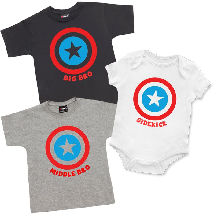 Superhero Big Bro, Middle Bro, Sidekick T Shirt & Onesie Set