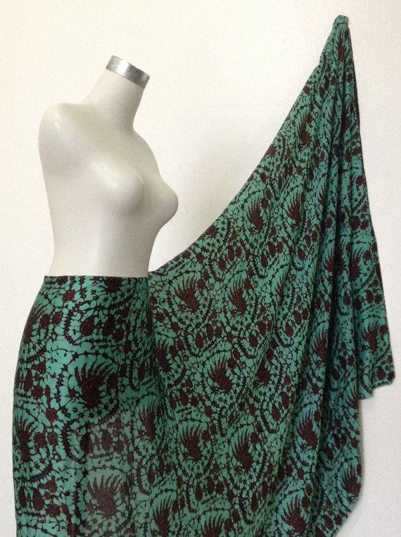 Wood Block Print Vintage Handmade Silk Batik Fabric Sarong Wrap Scarf Pareo Dressmaking my Etsy shop https://www.etsy.com/listing/217839291/silk-batik-dressmaking-fabric-handmade