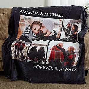 LOVE this anniversary gift idea!! It's a personalized photo blanket! Choose any color and add up to 6 of your favorite photos and any 2 lines of text - you can use a favorite saying or inside joke or anything you want! SOOO CUTE!