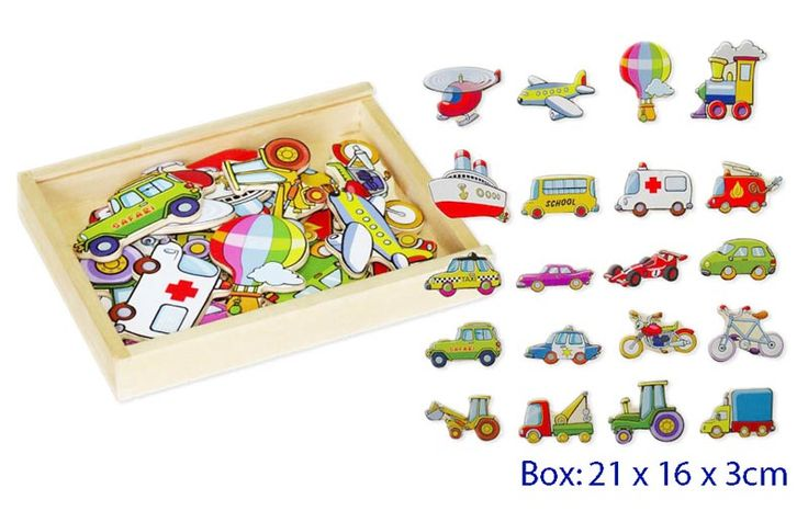 Wooden Magnet Box Set - Transport - $15 Set of 20 different modes of transport, this is a great item role play or story telling These have a full back magnet 3yrs +
