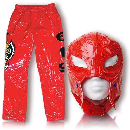 WWE Rey Mysterio Red Replica Kid Size Mask & Pants Combo by WWE. $129.00. Officially Licensed WWE Wrestling Merchandise!. Fits kids ages 8 and up!. Made of faux leather!. Pants measure approximately 29 inches long and fit 28 - 32 inch waist (adjustable drawsting)!. Kid Sized Rey Mysterio Mask & Pants Combo!. Rey Mysterio WWE Kid Size Replica Wrestling Mask & Pants! Officially Licensed by WWE. Made directly from Rey Mysterio's own mask. Fits kids ages 8 and up.
