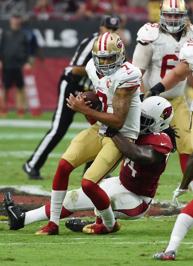 49ers vs. Cardinals:  23-20, Cardinals  -  November 13, 2016  -    Colin Kaepernick #7 of the San Francisco 49ers is tackled by Markus Golden #44 of the Arizona Cardinals during the second quarter at University of Phoenix Stadium on November 13, 2016 in Glendale, Arizona.  (Photo by Norm Hall/Getty Images)